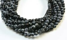 snowflake obsidian, round 4-16mm, gift, craft supply, jewelry making, loose bead
