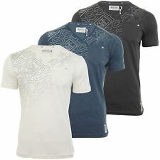Mens T-Shirt Crosshatch 'Nakal' Short Sleeved V Neck Graphic Print
