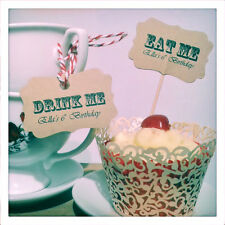 10 x Vintage Carnival EAT ME Picks & DRINK ME Tags Cake Food Flags Alice Lables