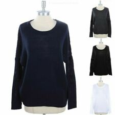 Women's Solid Long Sleeve Sweater Knit Top Crewneck Ribbed Hem and Cuff S M L