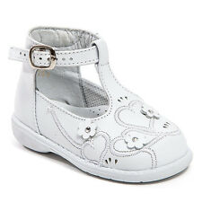 Baby Girl White Leather High Top shoes with Buckle & Stitch Design: Size 3 to 8