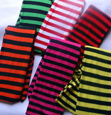 striped ladies costume stockings thigh high socks fancy dress orange yellow red