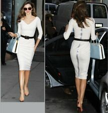 Free Belt 2013 Summer New VICTORIA BECKHAM Posh Look Women Dress White Orange