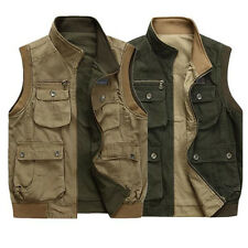 Multi Pockets Decor Men Casual Sleeveless Jacket Winter Outdoor Vest Size L-4XL