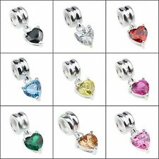 .925 Sterling Silver Bead European Style Charms pendant with crystal CZ stone