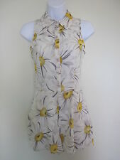 NEW EX HIGH STREET GREY YELLOW FLORAL PRINT PLAYSUIT ONESIE ROMPERSUIT SIZE 8 10