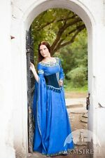 "Medieval Costume , Medieval linen dress and suede bodice ""Lady of the Lake"""