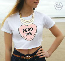 * Feed Me Crop Top Tumblr Fashion Pastel Heart Funny Cute Girl Pretty OOTD *