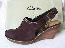 NEW CLARKS SOFT WEAR HAZELNUT CRISP BROWN SUEDE WEDGE SHOES VARIOUS SIZES
