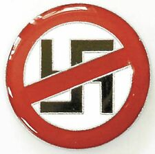 "Button Pin Brooch Button 0.59"" x 0.78"" Against Nazis 02558"