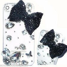 NEW 3D BLING BLACK BOW DELUX DIAMANTE SPARKLE CASE COVER IPHONE 4S 5S 6 6s 5c 7