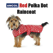 New Ancol Pet Dog Red Polka Dot Dotty Rain Coat Waterproof Small Medium Mac