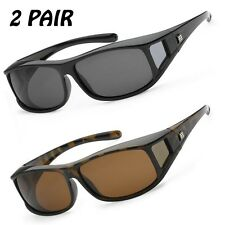 2 Pairs Polarized COVER Over Sunglasses RX GLASS  fit driving sz Medium 100% UV