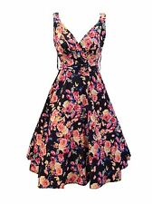 Kushi Floral 50s Retro Vintage Summer Wedding Party Dress Size 10 12 14 16 18 20