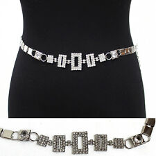 Women Bling Fashion Rhinestone Chain Full Metal Hip Waist Belt Silver Wedding
