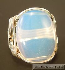 Sterling Silver Large Opalite Cabochon Wire Wrapped Ring