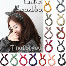 Rockabilly Women Ladies Hair Band Head Wrap Vintage Wired Retro Scarf Rabbit Ear
