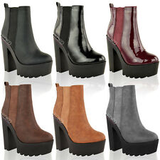 LADIES WOMENS CHUNKY CLEATED SOLE PLATFORM HIGH HEEL ELASTIC ANKLE BOOTS SHOES