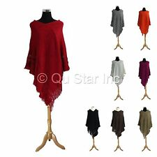New Women's Fashion Boho Knit Fringe Style Scarf Shawl Wrap Top Cape Soft Poncho