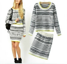 2 Piece Skirt Set Women Knitting Sweater Jumper And Bodycon Skirt Set Outfit