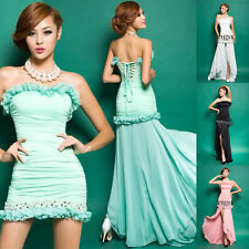 Sexy Evening Gown Bridesmaid Prom Long Cocktail Party Ball Dresses Pink