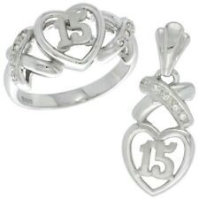 "925 Sterling Silver Quince ""15 Anos"" CZ Sweet 15 Heart Ring & Charm Pendant Set"