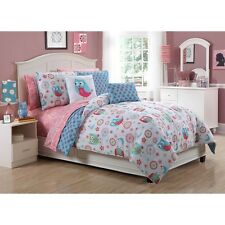 CUTE 8PC PINK BLUE WHITE GIRLS DOTS FLOWER FUN BED IN BAG COMFORTER SET SHEETS