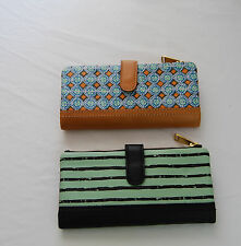 Fossil Erin Print Leather Flap Tab Clutch Wallet