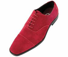 Sio Mens Wine Cap Toe Oxford Dress Shoe in Faux Suede w/Piping Detail: Benet-175
