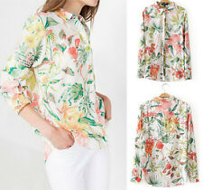 Casual Womens Blouse Floral Printed Long Sleeve Button Down T-Shirts Lapel Top