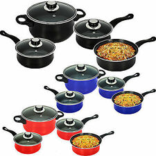 QUALITY 7PC NONSTICK CARBON STEEL COOKWARE SET WITH 3 GLASS LIDS