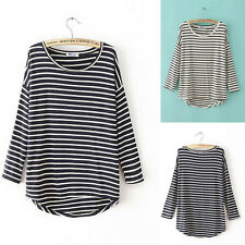 Comfy Casual Womens Stripes Tee T-shirt Cotton Long Sleeve Blouse Crew Neck Top