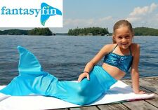 FANTASY FIN SWIMMABLE KID'S MERMAID TAIL with MONOFIN - SPARKLE OCEANA AQUA