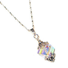 CLEAR AB Crystal Pendant & Chain 8mm Cube Swarovski Elements Sterling Silver