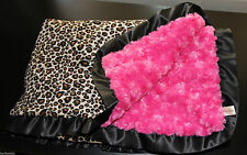 LARGE Leopard Print Minky Blanket – Light Hot Pink Black – Satin Trim – Cot Bed