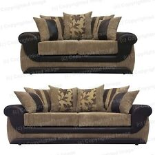 Brand New Kirk Sofa - 2 and 3 Seater - Brown Faux Leather and Beige Jumbo Cord