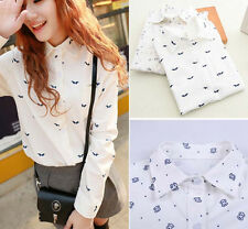 Lady White Mustache Tower Prints Turn Down Collar Long Sleeve Shirt Blouse Tops