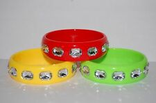 Pink Red Yellow Green Woman's Crystals Plastic Fashion Bangle Bracelet NEW