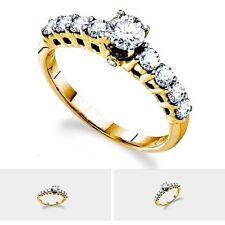1 CTW Round Solitaire & 8 Sidestone Diamond Engagement Ring in 14K Yellow Gold
