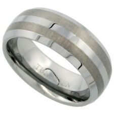 Tungsten Carbide 8 mm Dome Wedding Band Ring with Etched Double Stripes