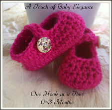New Born ~ A Touch of Elegance Baby Girl Booties Crochet  0-3 Months Cerise Pink