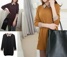 Casual Womens Lapel Spell Color T-shirt Long Sleeve Blouse Tops Plus Size New