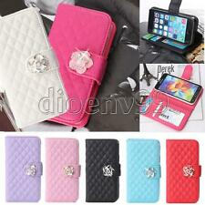 Crystal Rose Flip Bling Grid Wallet Stand Case Cover for Samsung Galxy S5/5s Hot