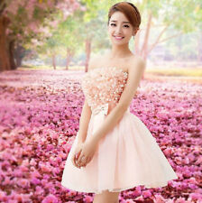 Pink Petal Lace Mini Women Bridesmaid Dress Cocktail Party Prom Ball Gown Sexy