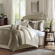 BEAUTIFUL ELEGANT MODERN IVORY BEIGE TAUPE BROWN STRIPE TEXTURED COMFORTER SET