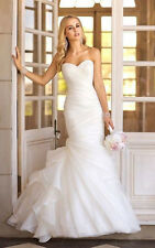 2014 New White/Ivory Mermaid Organza Wedding dress Bridal gown Stock Size 2-16