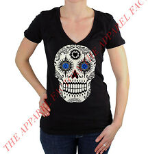 Junior's Day of the Dead Sugar Skull V Neck T Shirt Small-3XL mexican tee death