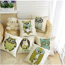 "17"" Square Cute Cartoon Animal Owl Pillow Cover Decor Linen Cotton Cushion Case"