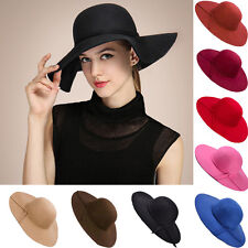 Vintage Floppy Women Wide Brim Bowler Wool Felt Fedora Cloche Beach Hat Sun Cap