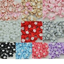 20pcs U pick satin ribbon flowers W/pearl Appliques Craft DIY Wedding B046